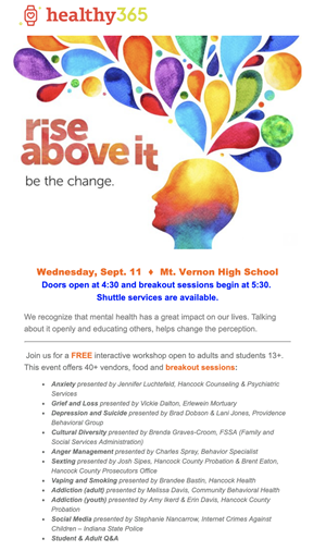 Rise Above It Mental Health Event Scheduled for Sept  11 - New